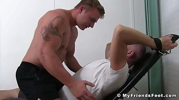 Bound blond dude tickle tormented by a dominant gay stud