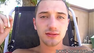 Pierced jock JD Phoenix wanking big throbbing cock outdoor