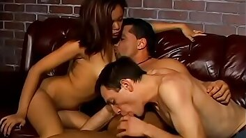 Muscular stud asian old bag in strapon fuck bi stud's asshole during threesome
